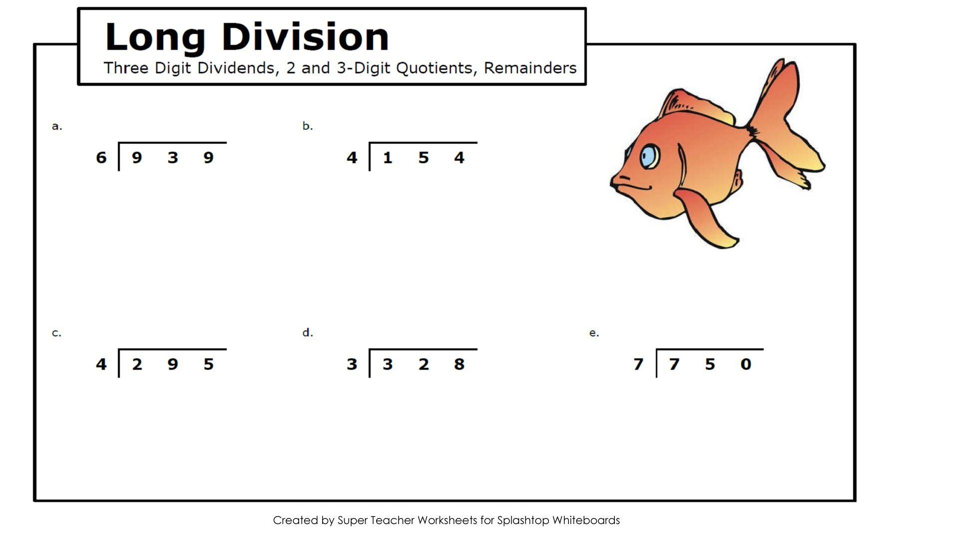Dads Worksheet Long Division