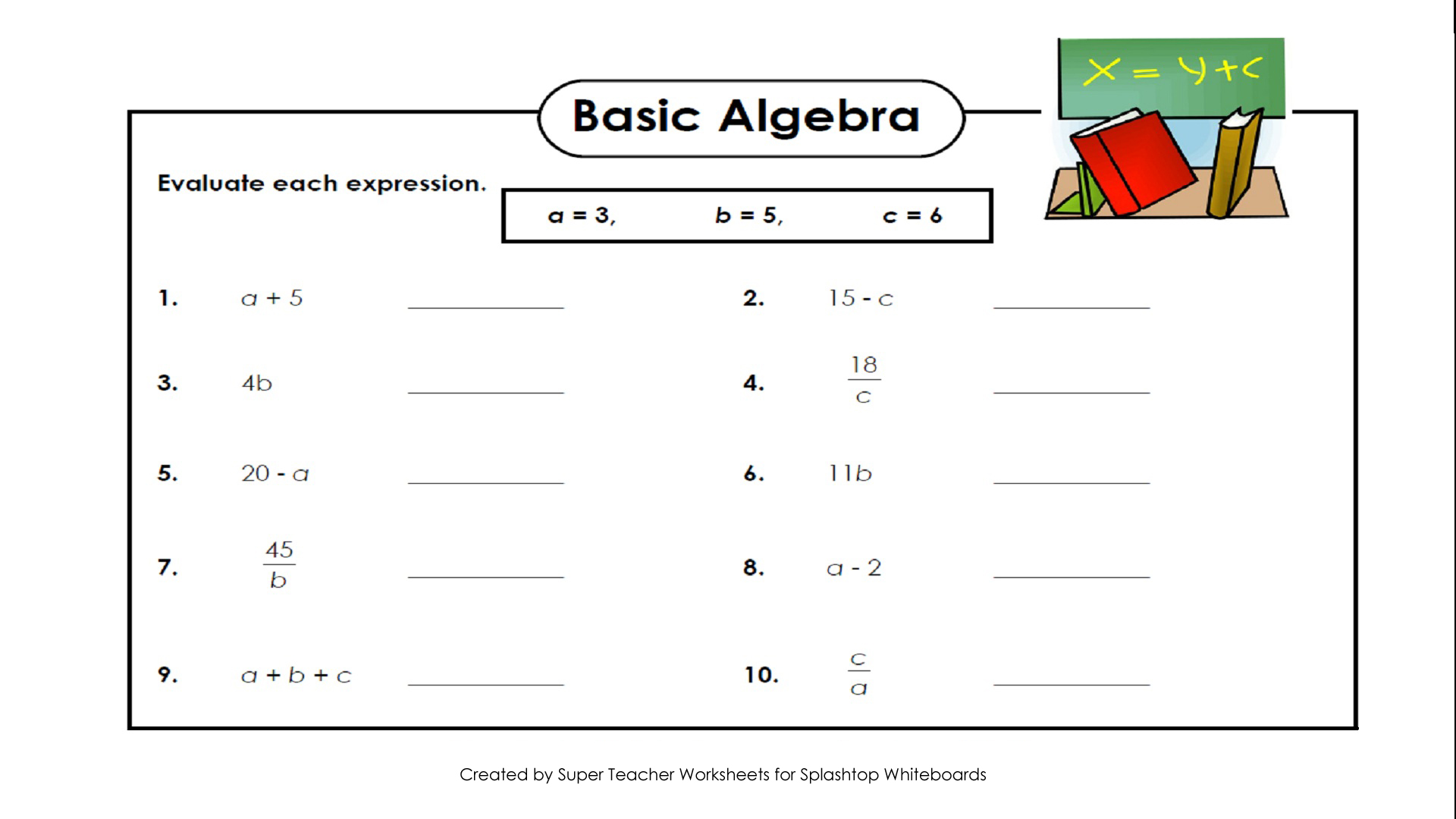 Simple Algebra Worksheets