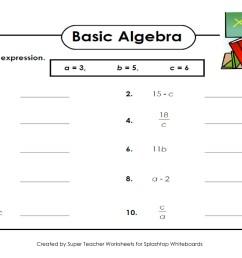 Evaluating algebraic expressions worksheet [ 1080 x 1920 Pixel ]