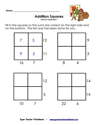 Addition Squares  Logic Puzzle Worksheets