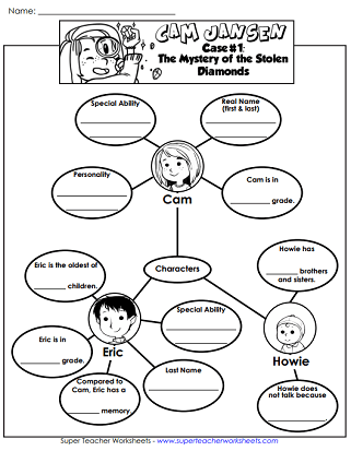 Worksheets for Cam Jansen #1: Mystery of the Stolen Diamonds