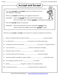 Commonly Confused Words: Worksheets