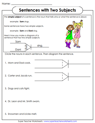 If a simple sentence has a compound subject or predicate, its … Diagramming Sentences Worksheets