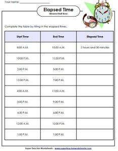 Elapsed time activities also worksheets math rh superteacherworksheets