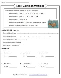 Least Common Multiple (LCM) Worksheets