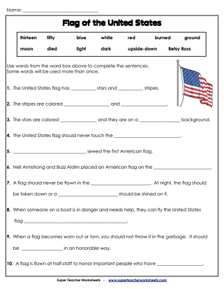 Memorial Day Worksheets Usa