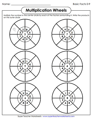 Multiplication Worksheets: Basic Facts with Factors of 9