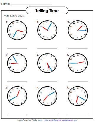 Time Worksheets (Nearest 5 Minutes)