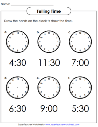 Telling Time To Hour And Half Hour Worksheets - Kidz ...