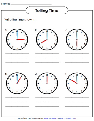 Telling Time in Hours