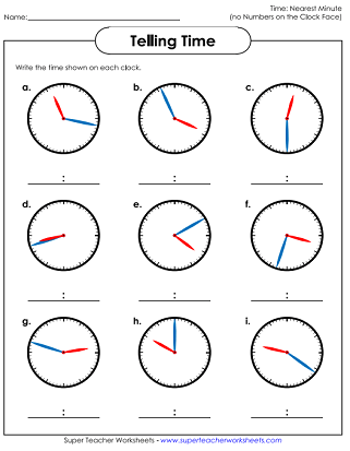 Worksheets: Time to the Nearest Minute