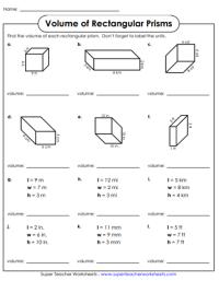 Volumes of Rectangular Prisms: Worksheets