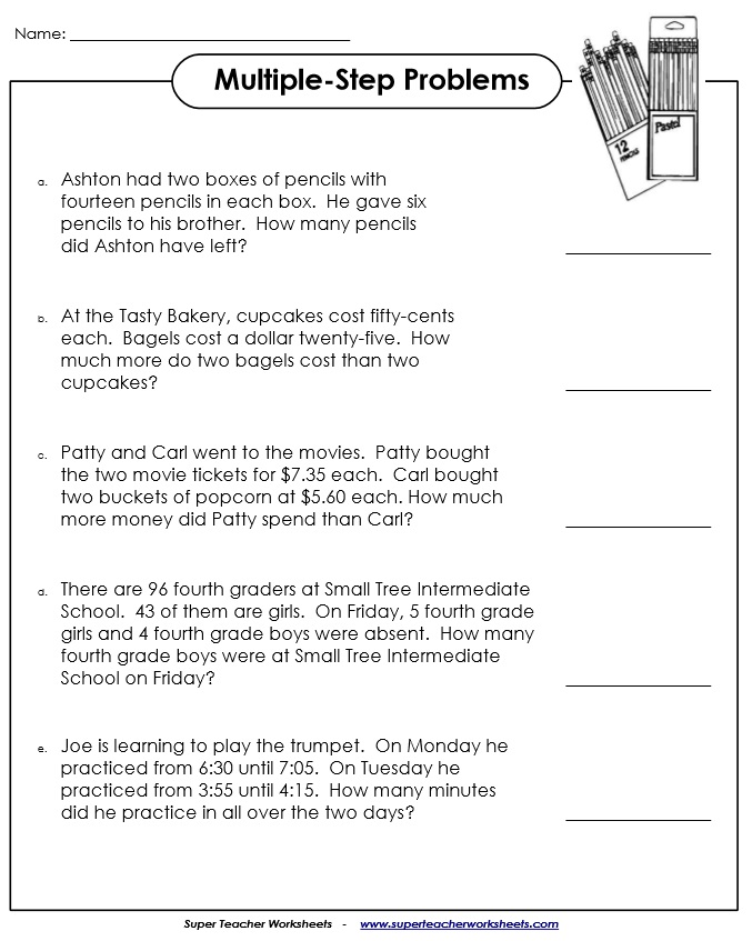 Multi Step Word Problems Worksheets 5th Grade