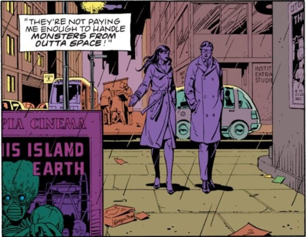 "Watchmen chapter 3, page 11, panel 2. Dan and Laurie walk towards the camera in the rain. To their right is a poster (mounted on something freestanding) reading ""PIA CINEMA"" at the top, showing a mutant with an exposed, oversized brain and hollow eyes, with the title ""IS ISLAND EARTH"" showing. To their left is a fragment of the same poster, showing ""UTO"" at the top and ""THI"" as the title. Behind them is the Institute for Extraspatial Studies. Superimposed over the image is a caption reading They're not paying me enough to handle monsters from outta space"