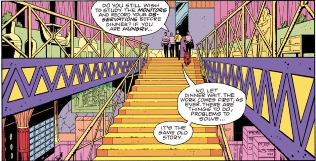 Watchmen chapter 10, page 7, panel 4. A long shot of Adrian and his assistants at the top of a staircase, descending beneath a floor whose boundaries are marked with dozens of interlocking triangles.