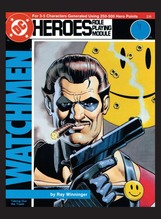 "Cover of Ray Winninger's Watchmen module ""Taking Out The Trash"" for the DC Heroes RPG"