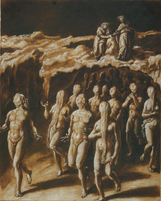 A painting by Stradanus of soothsayers in Hell, with their heads turned backwards.