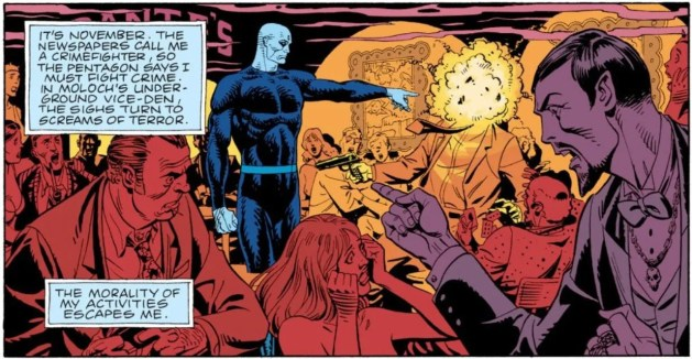 """Watchmen Chapter 4, page 14, panel 2. Dr. Manhattan points at a gunman, whose head explodes. A large caption almost covers up the word """"Dante's"""". A smaller caption reads """"The morality of my activities escapes me."""""""