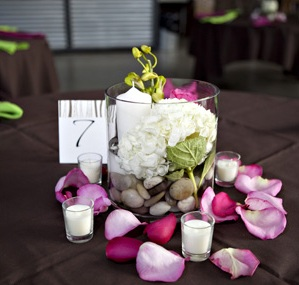 Easy Wedding Centerpieces - Candles, Rocks, River Rocks