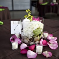 Easy Wedding Centerpieces - Candles, Flowers, River Rocks