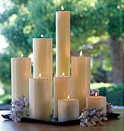 Easy Wedding Centerpieces - Pillar Candles in Cluster