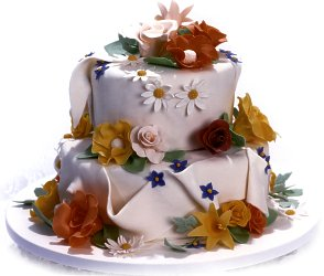 Picture Of Small Wedding Cake With Fondant And Flowers