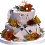 Small Wedding Cake With Fondant and Flowers