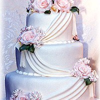 Three Tier White Wedding Cake With Pink Roses