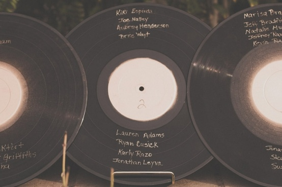 Unique Wedding Idea - Musical Seating Charts on LP Records