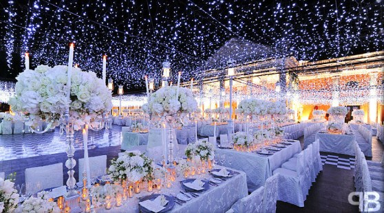 Winter Wonderland Wedding Reception: Ceiling Decor