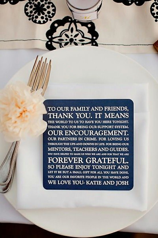 Picture of Unique Wedding Reception Idea - message to guests
