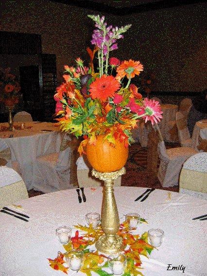 Fall Wedding Centerpiece - Raised Pumpkin