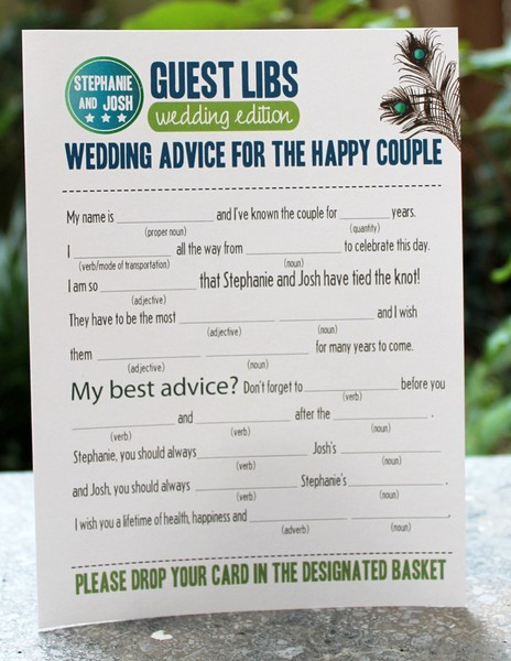 Fun weding reception ideas - mad libs for reception