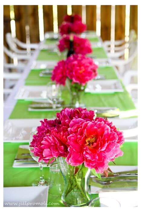 Green and Pink wedding table decorations