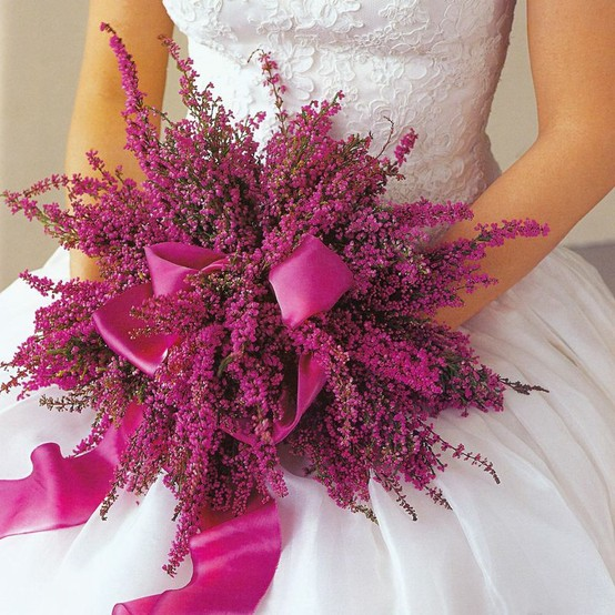 Heather bridal bouquet in purple