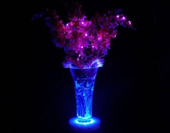 Lighted wedding centerpiece vase.