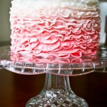One Layer Wedding Cake – Pink Ruffles