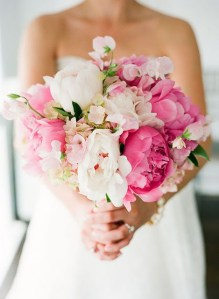 Peony Bridal Bouquet in White and Pink