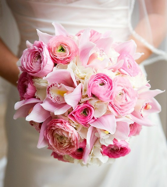 Pink Round Wedding Bouquet