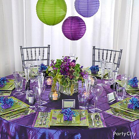 Purple and Green Wedding Tables at Reception