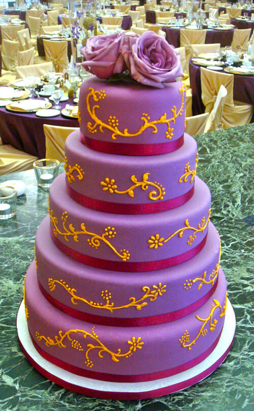 Purple and Orange Wedding Cake