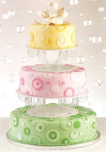 Multi-colored wedding cake - rainbow circles