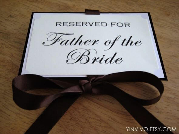 Reserved Signs for Wedding Ceremony Seating