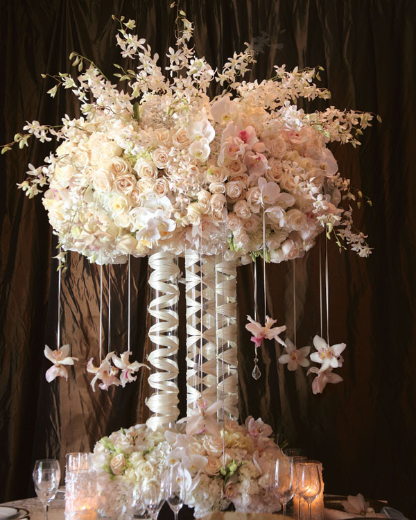 Tall White Floral Wedding Centerpieces