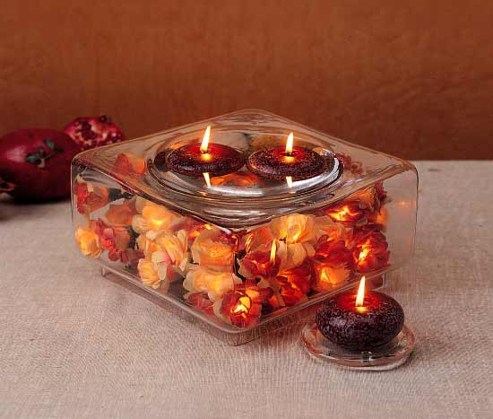 Candle Wedding Centerpieces in Square Glass Bowls