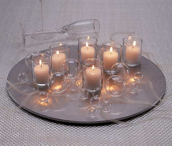 Wedding centerpieces with glass bubbles, votive candles
