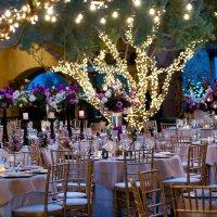 Outdoor Garden Wedding Reception in Evening