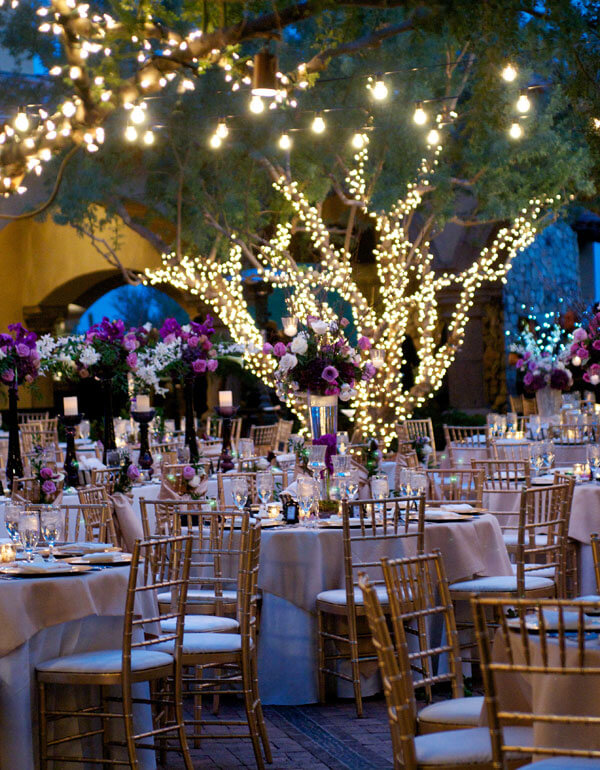 An evening wedding outdoor with stunning enchanted forest decor theme