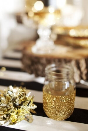 Glittered Mason Jar - DIY reception table decor idea