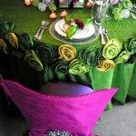 Purple and Green Jewel Tone Wedding Table Decor